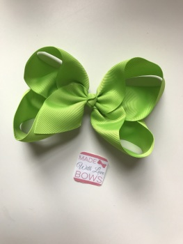 "6"" Bow Clip - Apple Green"