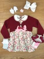 Smocked Spanish Dress With Cardigan Set - Pink & Burgundy
