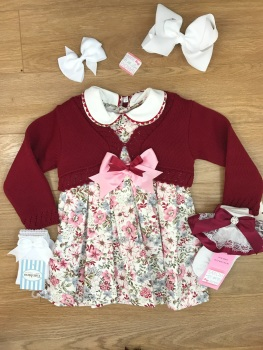 Smocked Spanish Dress With Cardigan Set - Pink & Burgundy