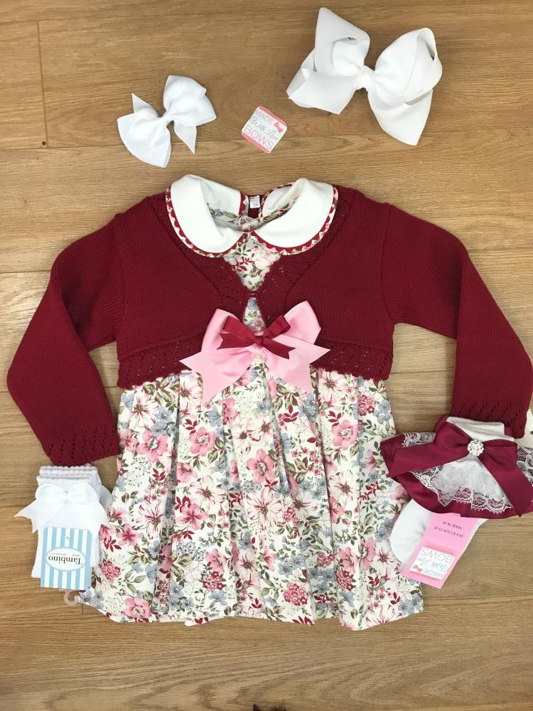 Pink & Burgundy Smocked Spanish Dress With Cardigan Set