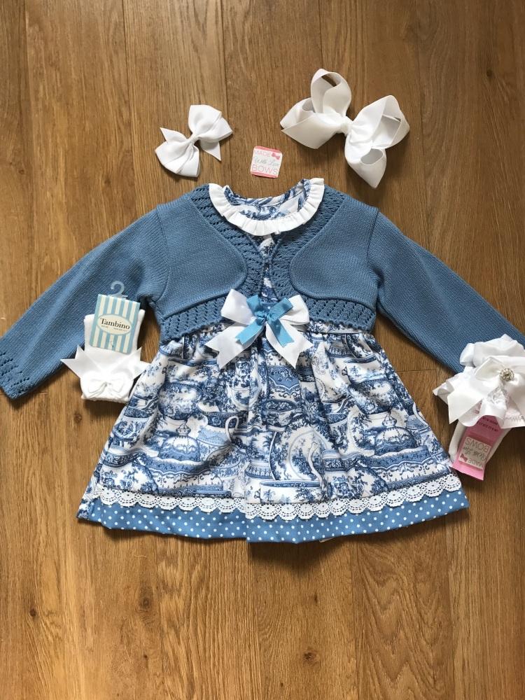White & Blue Smocked Spanish Dress With Cardigan Set
