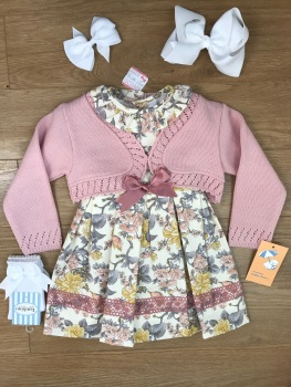 Smocked Spanish Dress With Cardigan Set - Dusky Pink