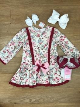Burgundy & Pink Spanish Dress