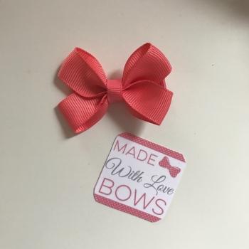 "Mini 2"" Flat Bow Clip - Coral"