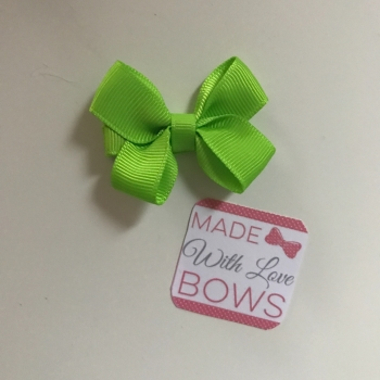 "Mini 2"" Flat Bow Clip - Lime Green"