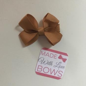 "Mini 2"" Flat Bow Clip - Camel"