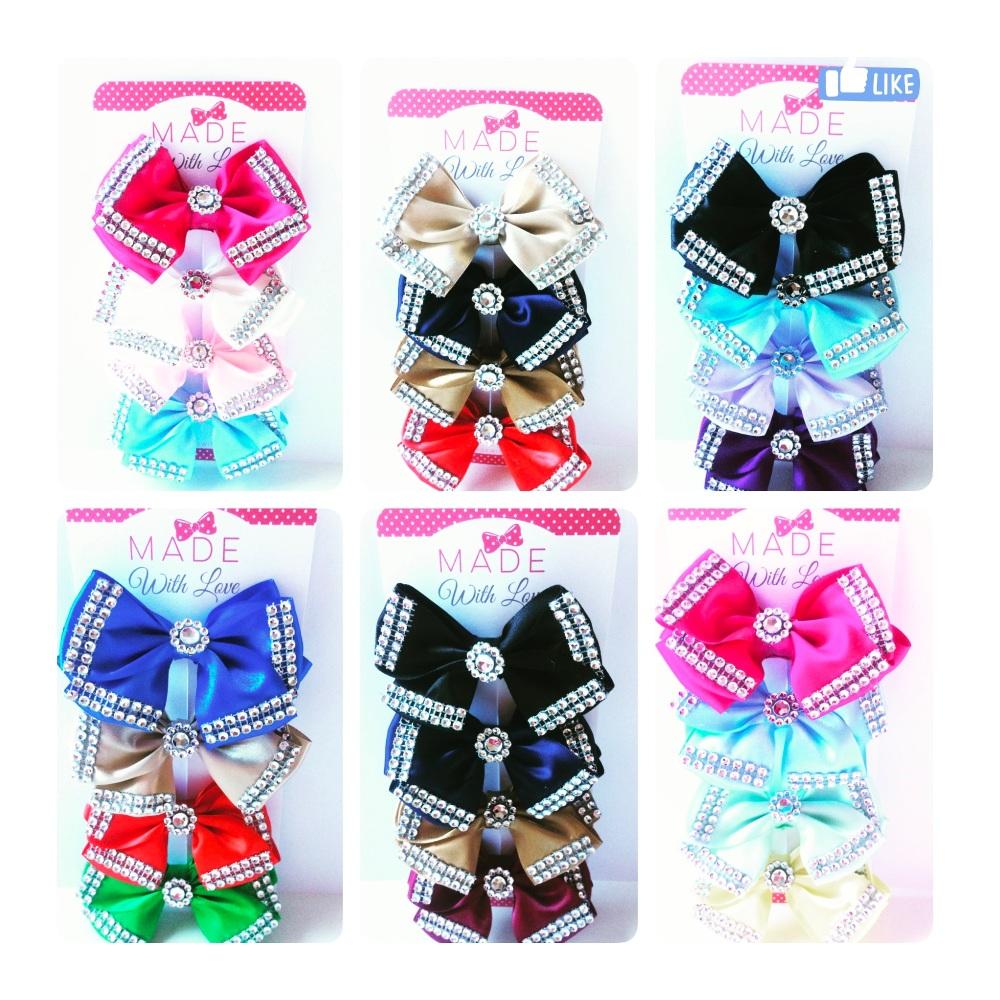 4 Diamanté Clips Pack - Choose your own colours