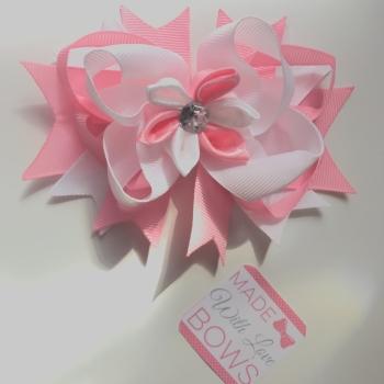 "4.5"" Flower Clip - Baby Pink & White"