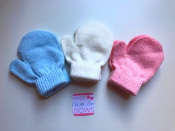 Mittens - Baby Blue, Cream & Baby Pink