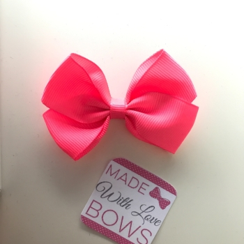 "2.5"" Bow Clip - Neon Pink"