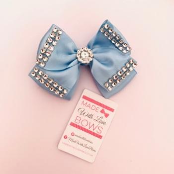 """3.5"""" Double Diamante Bow Clip - Baby Blue"""