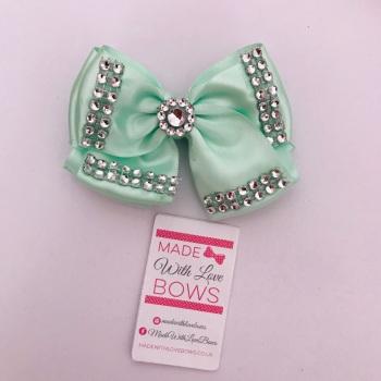 """3.5"""" Double Diamante Bow Clip - Mint"""