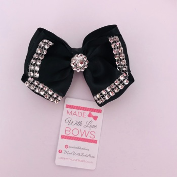 "3.5"" Double Diamante Bow Clip - Black"