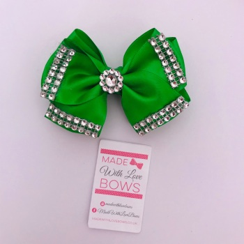 """3.5"""" Double Diamante Bow Clip - Green"""