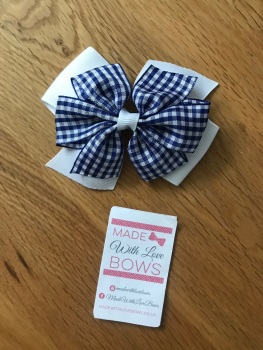 "4"" Gingham Clips  - Choose colour"