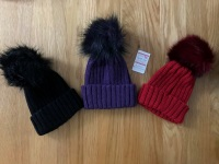 Kinder Pom Pom Hats 3 Colours