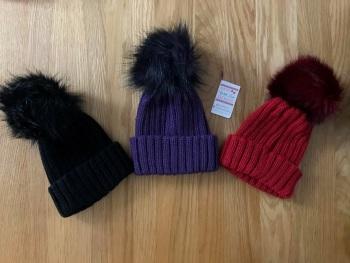 Kinder Pom Pom Hats 3 Colours
