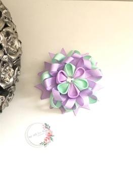 "3.5"" Flower Centre Clip - Lilac & Mint Green"