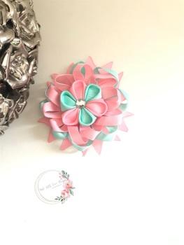 """3.5"""" Flower Centre Clip - Aqua & Baby Pink"""