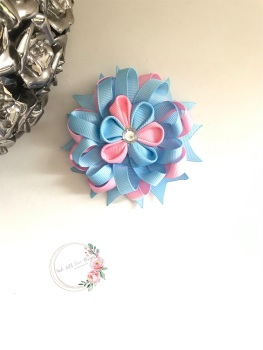 """3.5"""" Flower Centre Clip - Baby Blue & Baby Pink"""