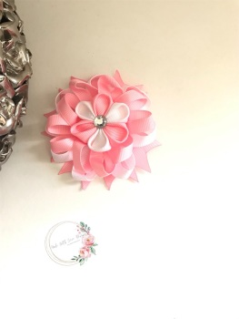 """3.5"""" Flower Centre Clip - Baby Pink & White"""