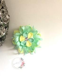 """3.5"""" Flower Centre Clip - Mint & Lemon"""