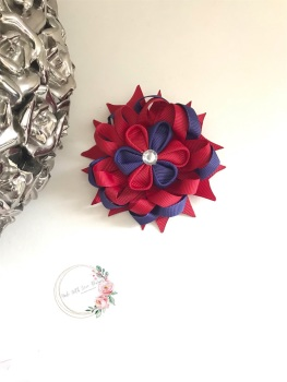 """3.5"""" Flower Centre Clip - Navy & Red"""