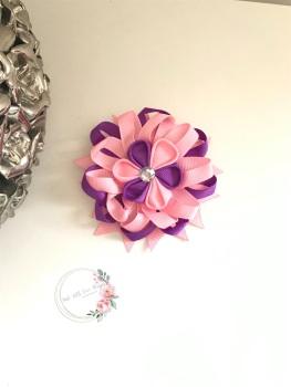 "3.5"" Flower Centre Clip - Purple & Baby Pink"