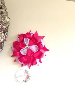 "3.5"" Flower Centre Clip - Raspberry & Fresco"