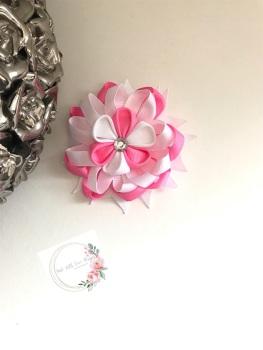 "3.5"" Flower Centre Clip - White & Pink"