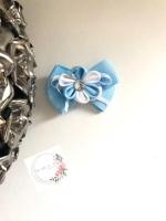 """2.75"""" Flower Clip - Baby Blue & White"""