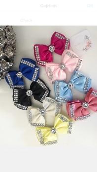 """3.5"""" Diamanté Bow Clip - Choose Colour"""