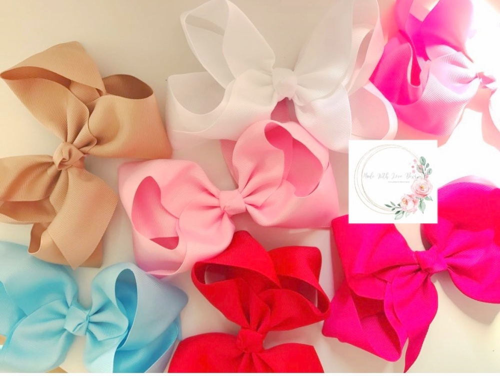 """6"""" Large Bow Clips - 20 colours to choose"""