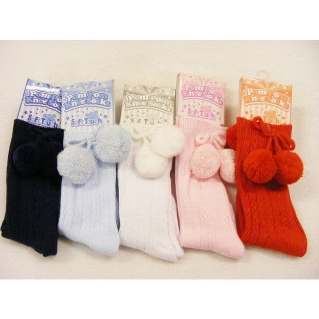 Pom Pom Soft Touch knee length socks