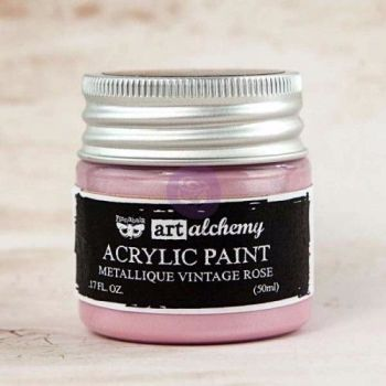Prima Art Alchemy Acrylic Paint - Metallique Vintage Rose