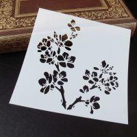 Stencil ~ Flower & butterfly Branch