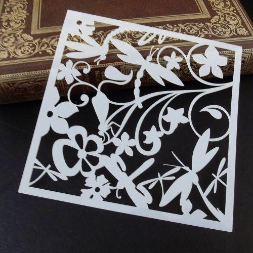 Stencil ~ Dragonflies & Flowers