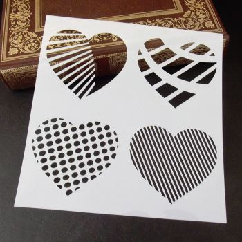Stencil ~ Patterned Heart Quad