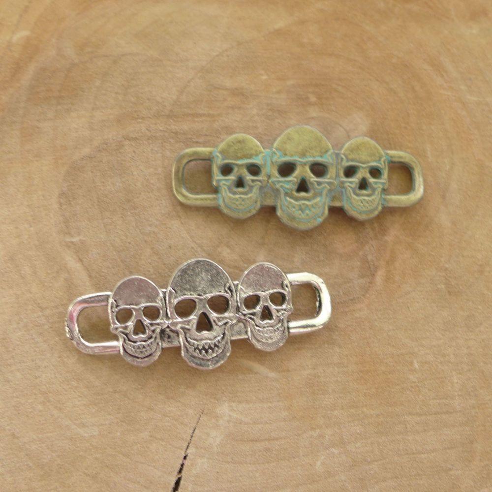 Silver & Patina Skull Ribbon Slider