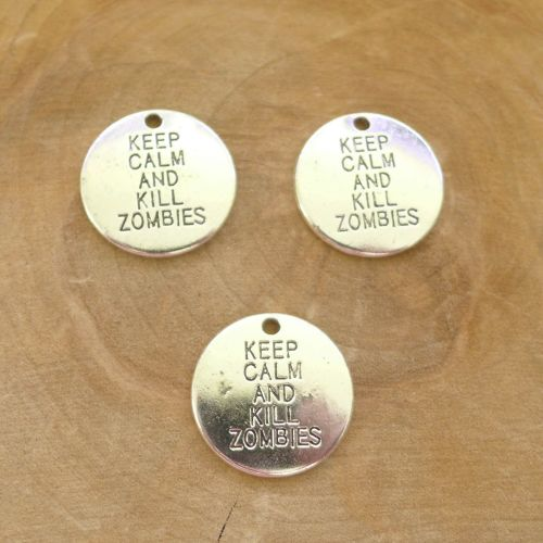 Silver Keep Calm And Kill Zombies Word Charms