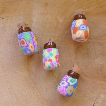 Polymer Clay Colourful Flower Mini Bottles (E5001)