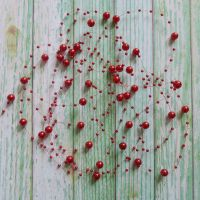 String Pearl Beads ~ Red