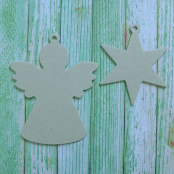 Grey board Christmas Shapes ~ Angel & Star