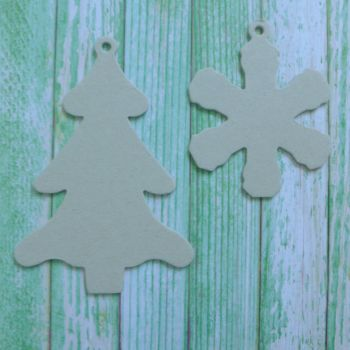 Grey Board Christmas Shapes ~ Christmas Tree & Snowflake