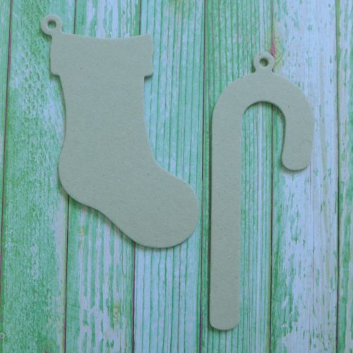 Grey board Christmas Shapes ~ Stocking & Candycane