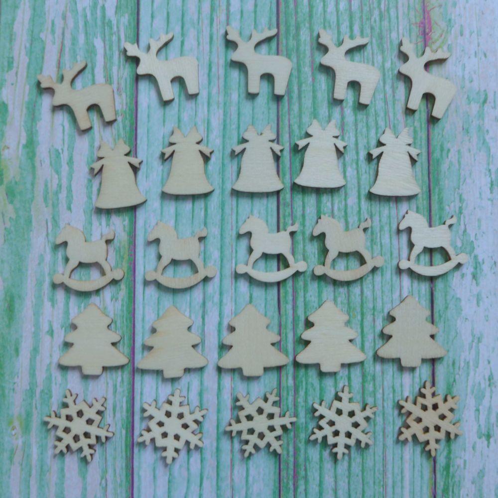Mini Christmas Wooden Embellishment Shapes