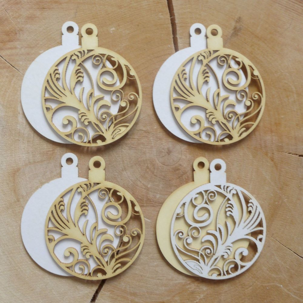 Chipboard Christmas Baubles