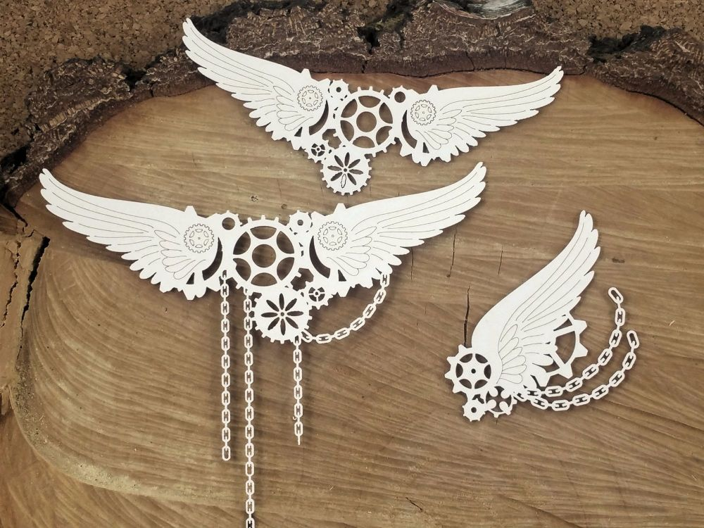 Steampunk Flying Hearts - Big Chained Wings