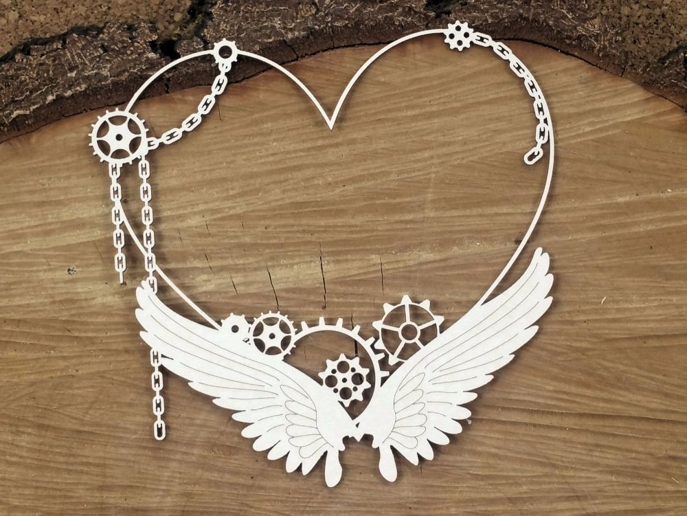 Steampunk Flying Hearts - Big Heart Frame (4721)