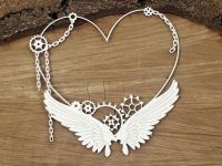 Steampunk Flying Hearts - Big Heart Frame (4751)